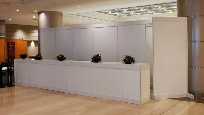 Shel scheme booth hotel lobby
